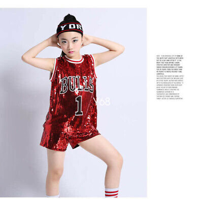Kids Jazz Dance Costumes Girls Sequins Street Dance Hip Hop Show Costumes Suit