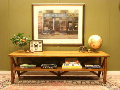 Long 2 Tier Rustic Hardwood Side Table / Sideboard / Storage Display / Tv Stand