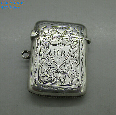 Antique Good Bright Cut Engraved Solid Sterling Silver Vesta Case, Birm 1901