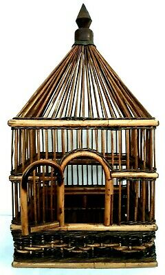 Bamboo Bird Cage Large Vintage Asian Cage