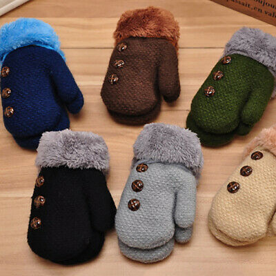 1Pair Winter Kids Boys Girls Gloves Full Finger Warm Buttons Knitting Mittens