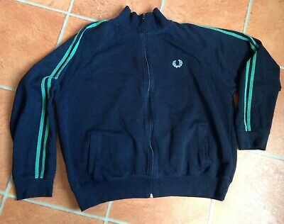 Fred Perry Sportswear Retro Black Zip Up Tracktop Size Xl