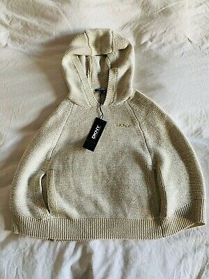 BNWT DKNY girls knitted cream and gold poncho cape with hood Christmas 4y