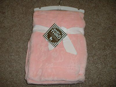 Baby Thro Blanket Aubree Woodland Animals Fleece Girls Pink Rose Fox NWT VHTF