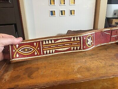 Vintage 1960's Native American Style Wide Leather Belt fits 38 to 44 approx.