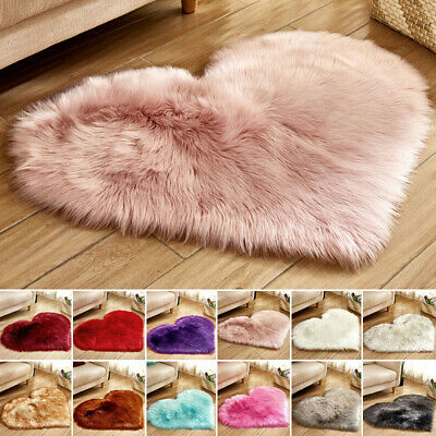 Heart Shaped Fluffy Area Rug Shaggy Floor Mat Fur Home Bedroom Hairy Carpet UK