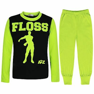 Kids Boys Girls Pyjamas Lime Trendy Floss A2Z Print Xmas Loungewear Outfit Sets