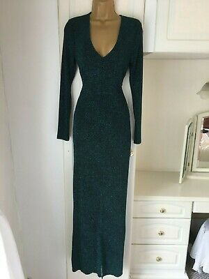"""H&M size uk 12 black/green sparkly dress with front slit in vg con bust 36"""""""