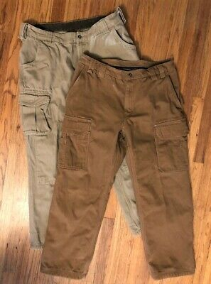 2 Duluth Trading Company Mens Heavy Canvas Fleece Lined Cargo Work Pants 40 x 32