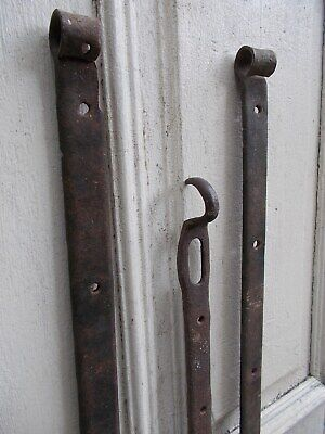 Antique Forged Cast Iron Gate Strap Hinges Bracket Gate, 18/19th C.