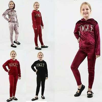 Girls Velvet Hooded Vogue Tracksuit Kids Top & Bottom  Lounge Wear Co Ord Suit