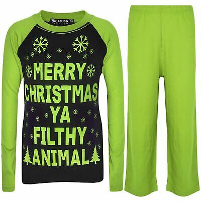 Kids Girls Boys PJ'S YA FILTHY Black & Lime Print Christmas Pyjamas Set 2-13
