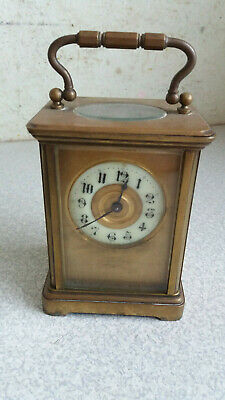 Antique Small Brass & Enamel  Dial Carriage Clock - James  Duncan Paisley