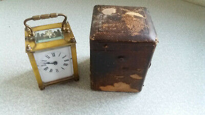 Antique French ? Small Brass & Enamel  Dial Carriage Clock - Leather Case