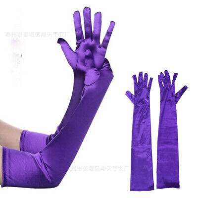 Satin Lady Long Finger Gloves Anti-slip Arm Elbow Womens Evening Party Bridal