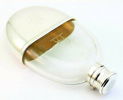 c1869, ANTIQUE 19thC ENGLISH VICTORIAN SOLID SILVER GLASS OVAL HIP FLASK AND CUP