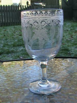 Antique 19Th Century Etched Glass Goblet - Buy It Now