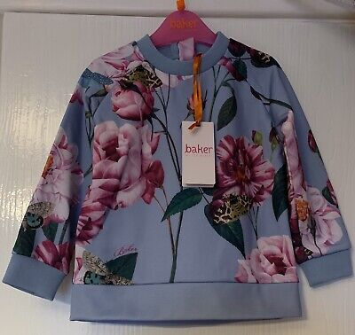 Ted Baker Girls Floral Sweat Top Age 4-5 Years NEW