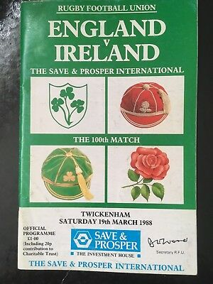 8153 - England v Ireland 1988 Rugby Programme RFU IRFU 19th March 19/03/1988