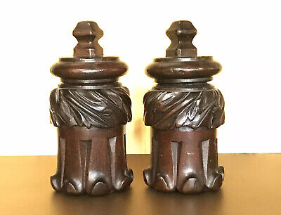 Estate Old Well Carved Plumes European Treen Wooden Tobacco Jar Humidor Pair