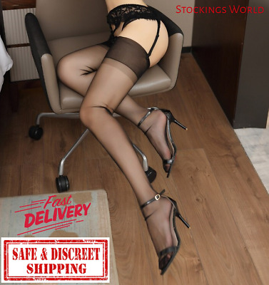 Fully Fashioned Stockings BLACK Non Stretch Seamless 5 Denier Medium UK NEW
