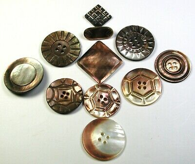 """BB Antique Smokey Shell Button Lot of 11 Carved Iridescent Designs 3/4-1 & 1/8"""""""
