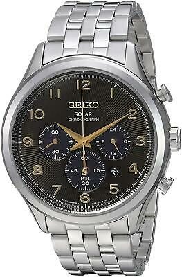 Seiko Men's Analog Solar Chronograph 100m Stainless Steel Watch SSC563