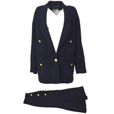 Authentic CHANEL Vintage CC Jacket Skirt Set Up Navy Wool 28301 #36 Y03824
