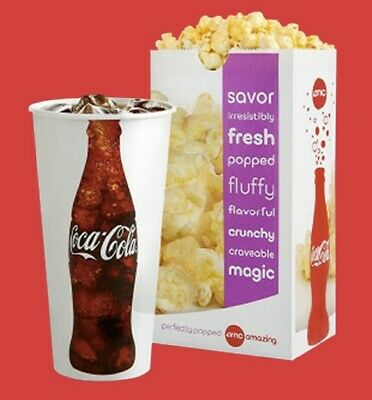 AMC Theaters: 1 Large Popcorn & 1 Large Drink: Expire 6/30/2020- Fast E-Delivery