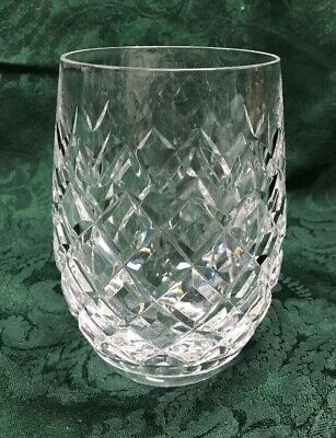 """Waterford Crystal Stemless Wine or Rocks Glass Diamond Pattern 4.5"""" Signed"""