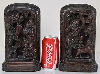 Antique Pair Chinese Carved Rosewood or Hardwood Wood Bookends Feeding Dragon