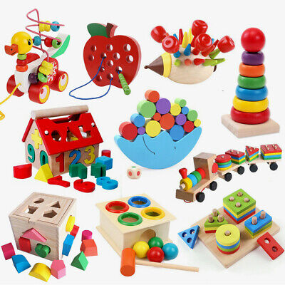 Wooden DIY String Beads Alphabet Puzzle Board Blocks Kids Early Educational Toys