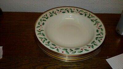 "4 Lenox Holiday 9"" Soup/Salad Bowls Dimension Gold Trim Holly & Berry Design"