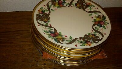 8 Lenox China  Collection HOLIDAY TARTAN Salad/dessert Plates MINT