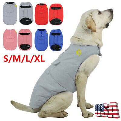 US Waterproof Pet Dog Clothes Winter Warm Padded Coat Pet Puppy Vest Jacket