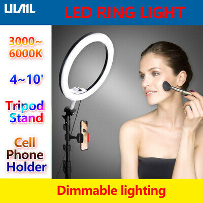 4-10' 6000K Dimmable LED Ring Light Diffuser Stand Mirror Make Up Studio Video