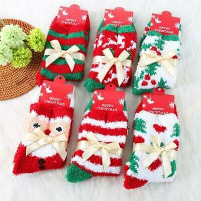 4 Pairs Ladies Soft Fluffy Cosy Bed Socks Winter Warm Christmas Gift Casual Sock