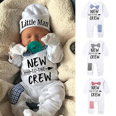 USA Newborn Baby Boy Kids Cotton Romper+Hat Jumpsuit Clothes Long Pants Outfits