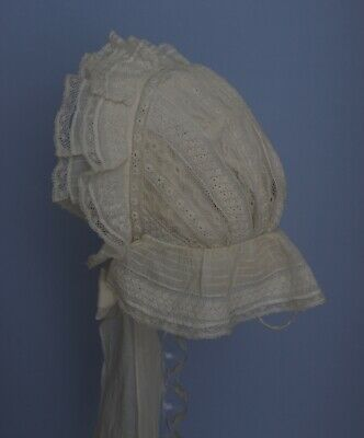 Antique Victorian Baby bonnet /Cap White cotton with lace and Embroidery