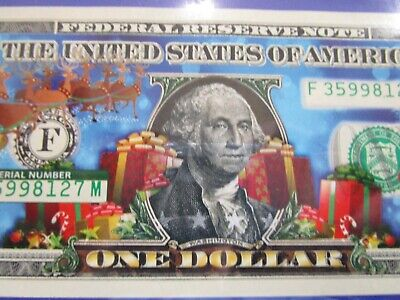 USA Colorized ONE  Dollar Collectors Note in Folder 'Merry Christmas' Unc
