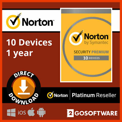 Norton Security Premium 2020 10 Devices 1Year License 25GB Backup Email Delivery