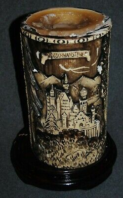 """Vintage German Hand Carved Candle NEUSCHWANSTEIN Castle 10.25"""" Tall - Wood Base"""