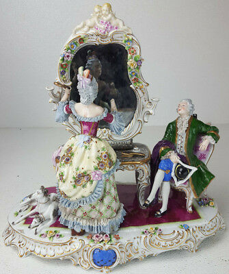 Antique Dresden Sitzendorf Large Porcelain Lady Vanity Mirror Paramour Dogs