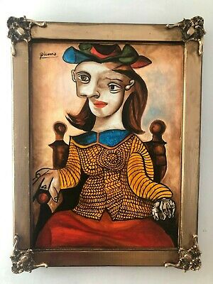 Pablo Picasso Artist Oil Painting On Canvas Signed Sealed Framed 25'' X 33''
