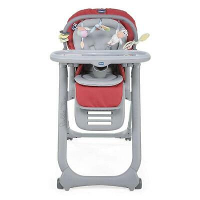 Chicco Polly Magic Relax Highchair 4Wheel (Scarlet) - Suitable From Birth