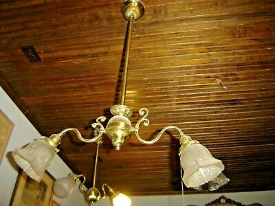 Antique Brass Ornate Two-Arm Light Fixture with Pressed Shades. 738