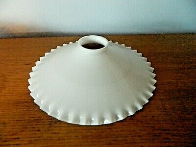 C 1930s French Coolie Pendant Lampshade  Opalescent White Glass Clear Frill # F