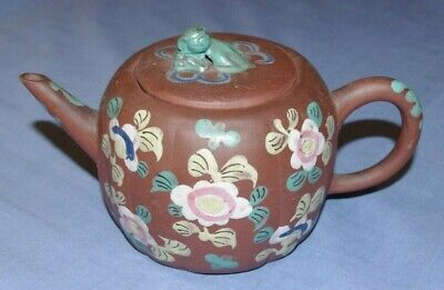 MOST BEAUTIFUL 19th CENTURY ANTIQUE CHINESE YIXING ENAMELLED TEAPOT
