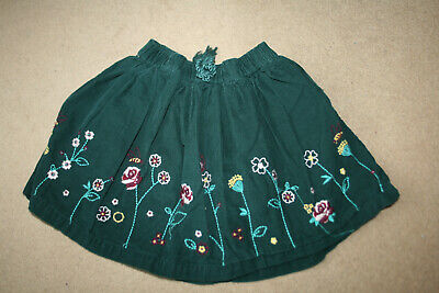 Girls Green Floral Embroidered Cordrouy Skirt, Age 6 Yrs from TU