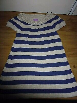 Baby Girls Beige/Navy Striped Knitted Effect Dress.. Age 12 -18 Months